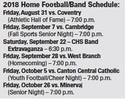2018 Home Football/Band Schedule